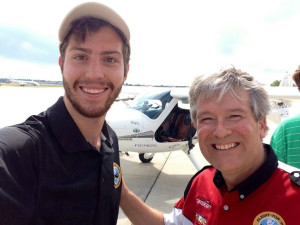Michael Combs and Daniel Routh after just completing the world record coast to coast flight June 2014